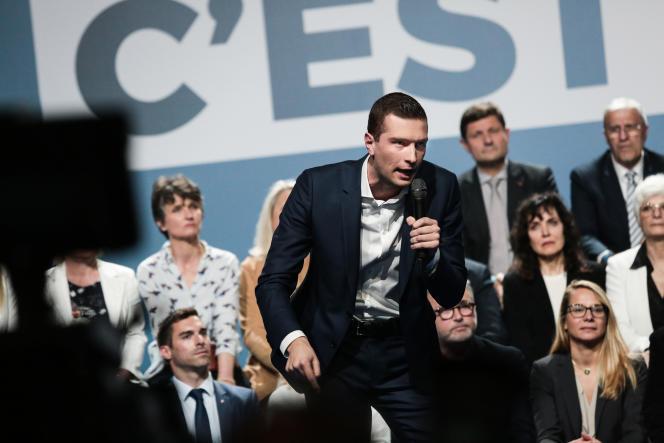 Jordan Bardella, le candidat RN aux élections européennes, a fait de l'identitéde la France le coeur de son discours, le 1er mai, à Metz (Moselle).