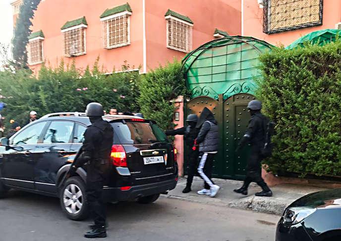 Arrestation d'un suspect dans l'affaire du meurtre de deux touristes scandinaves, dans le quartier de Sidi Youssef Ben Ali, à Marrakech, le 20décembre 2018.