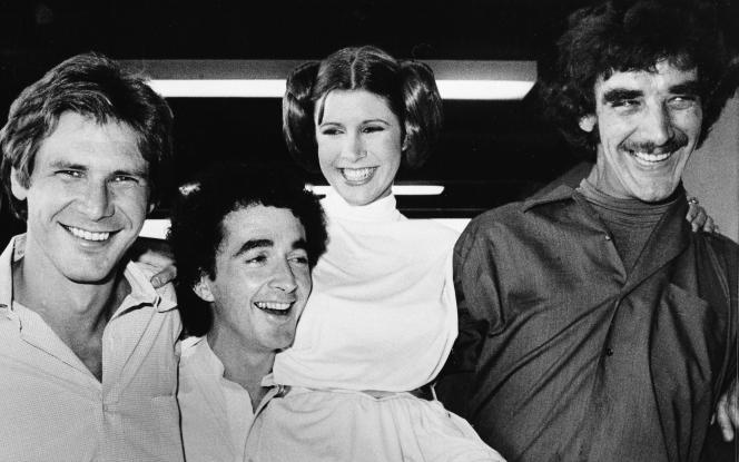 Les acteurs de « Star Wars» (de gauche à droite)Harrison Ford, Anthony Daniels, Carrie Fisher et Peter Mayhew lors d'un tournage à Los Angeles le 5 octobre 1978.