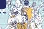 """Planche extraite de la bande dessinée de Claire Le Men """"Le Syndrome de l'imposteur, parcours d'une interne en psychiatrie""""."""