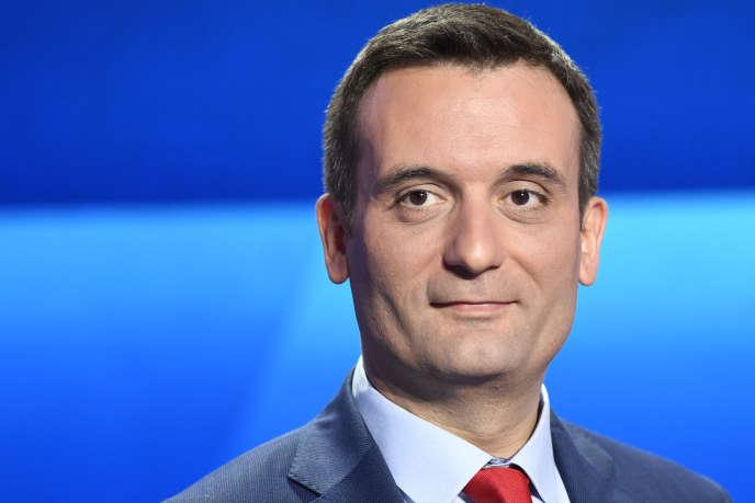 L'eurodéputé et tête de liste des Patriotes aux prochaines européennes, Florian Philippot, lors du débat sur France 2 le 4 avril.