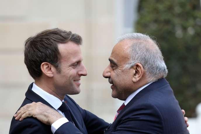 Emmanuel Macron reçoit le premier ministre irakien, Adel Abdel-Mahdi, avant une réunion à l'Elysée, vendredi 3mai.