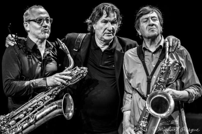 De gauche à droite : François Corneloup, Armand Meignan et Daunik Lazro lors de l'édition 2015 de EuropaJazz Festival.