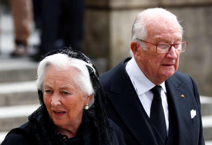 Le roi Albert II et la reine Paola de Belgique lors des unérailles du grand duc Jean du Luxembourg, le 4 mai 2019 à Luxembourg.
