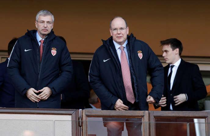 Dmitri Rybolovlev et Albert de Monaco, le 5 mai, au Stade Louis II.