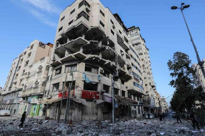 Le bâtiment d'où, selon Israël, provenait les attaques informatiques pilotées par le Hamas et qui a été endommagé par une frappe de l'aviation israélienne.