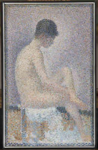 """« Félix Fénéon conserva pendant toute sa vie trois petites """"Poseuses"""" de Seurat qu'il considérait comme les chefs-d'œuvre de sa collection. Il ne s'en séparait jamais et avait fait réalisé un écrin spécial pour les transporter. Clou de sa collection, elles furent négociées avant la vente posthume de 1947 par le directeur des musées de France.»"""
