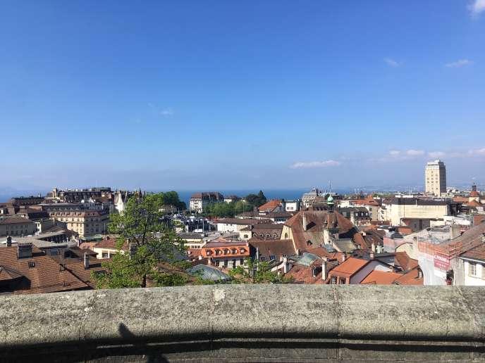 Lausanne, vue du parvis de la cathédrale Notre-Dame.
