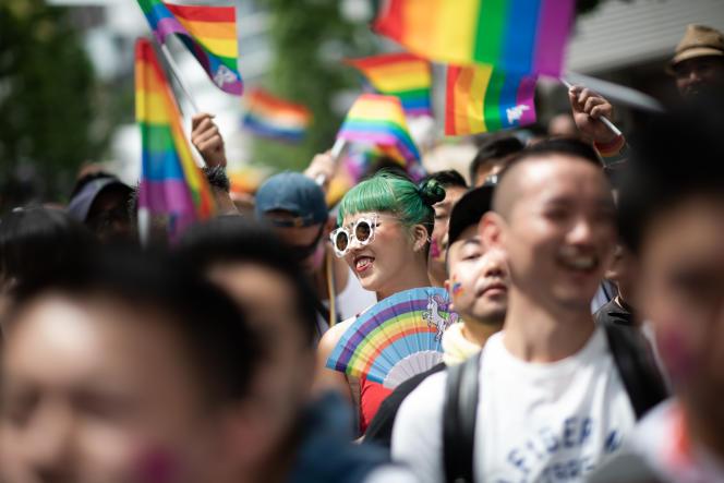Lors de la marche des fiertés, à Tokyo, le 6 mai 2018.