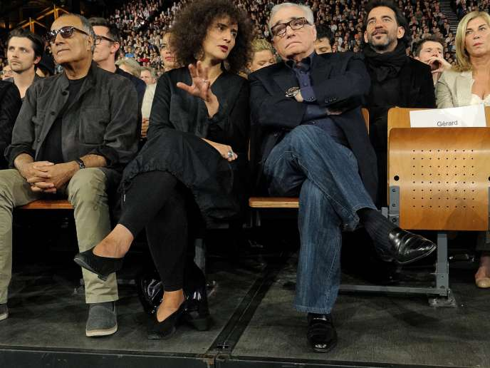 La traductrice, entre Abbas Kiarostami (à gauche) et Martin Scorsese au Festival Lumière, à Lyon, en 2015.
