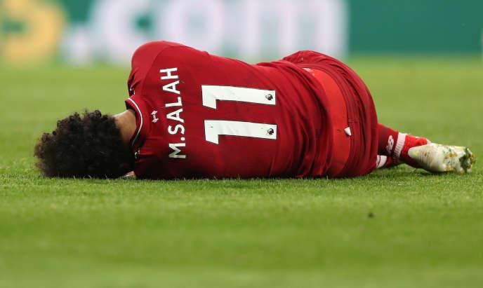L'Egyptien Mohamed Salah après sa blessure à Newcastle, au Royaume-Uni, le 4mai 2019.