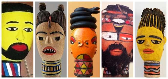 De gauche à droite : les marottes de«kébé-kébé» font référence à l'histoire (l'explorateur Pierre Savorgnan de Brazza), aux mythes fondamentaux (la mère des jumeaux), aux cosmogonies (le serpent comme principe de la connaissance), à la maîtrise des forces de la nature (le maître du serpent), à l'esthétique (la beauté de la femme).