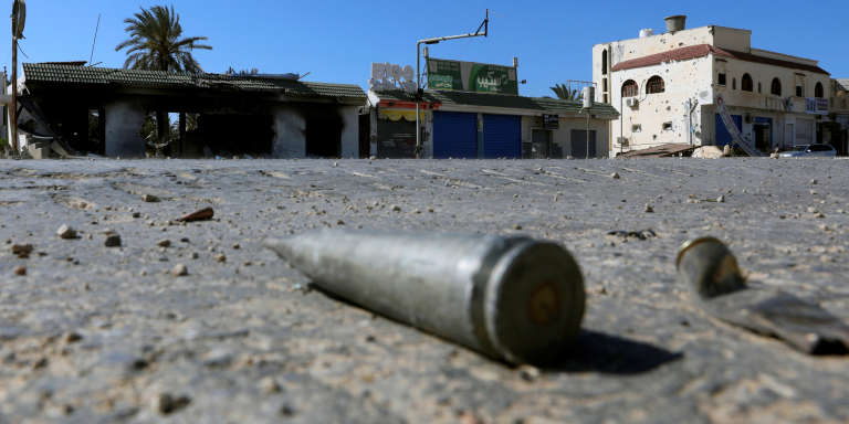 Shell casings are seen on the ground  during a fight between members of the Libyan internationally recognised government forces and Eastern forces in al-Yarmouk south of Tripoli, Libya May 7, 2019. REUTERS/Hani Amara
