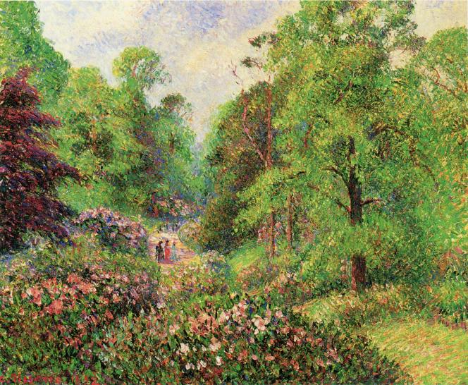 «Jardin de Kew Gardens, l'allée des rhododendrons» (1892), de Camille Pissarro. «Collection privée».