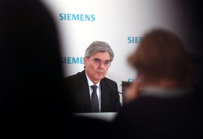Le patron de Siemens, Joe Kaeser, lors d'une conférence de presse, à Munich, en janvier 2018.