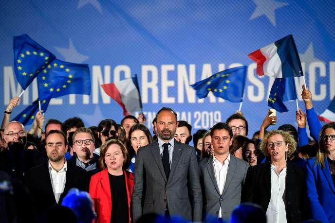 Edouard Philippe et Nathalie Loiseau lors d'un événement de campagne en amont des élections européennes, à Caen (Normandie), le 6 mai.