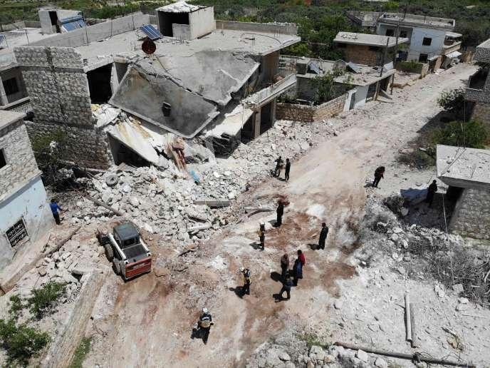 Le village bombardé d'Ibdita, dans la province d'Idlib, le 8 mai.