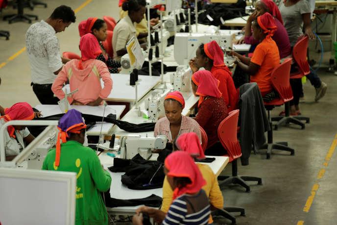 Dans une usine textile du parc industriel d'Hawassa, en Ethiopie, ennovembre 2017.