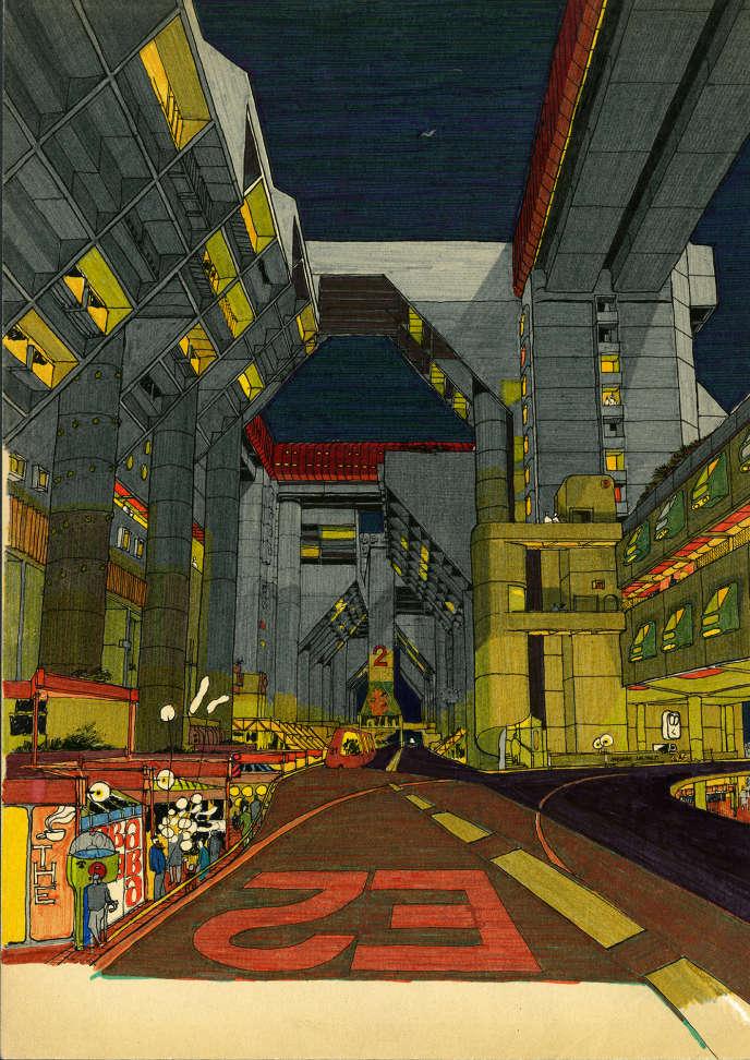 «Évry 1», projet d'Henri Ciriani pour le concours du quartier 1 de la ville nouvelle d'Évry en 1971.
