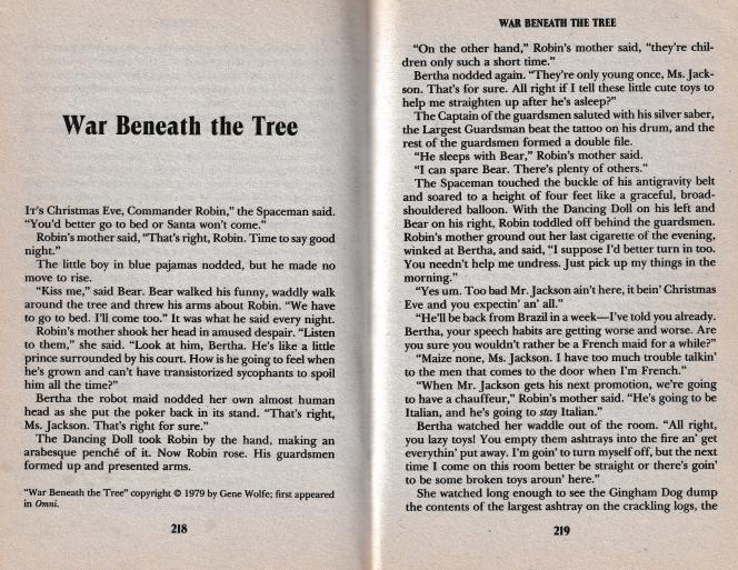 Ces pages de Guerre sous l'arbre de Gene Wolfe (ici dans le recueil de nouvelles Silhouettes, publié aux États-Unis en 1989) montrent l'excellente correction de la reliure du LiDE 300 : les ombres entre les pages sont éliminées.