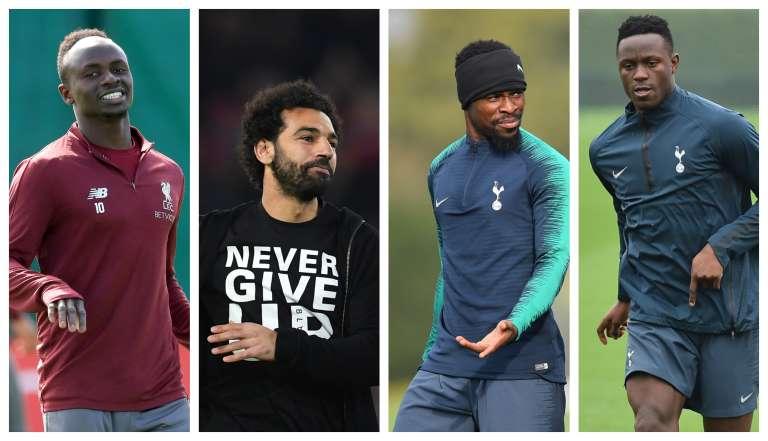 De gauche à droite : le Sénégalais Mané Diop, l'Egyptien Mohamed Salah, l'Ivoirien Serge Aurier et le Kényan Victor Wanyama.