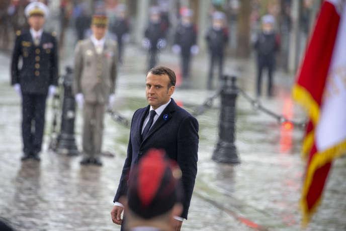 Emmanuel Macron, lors des commémorations du 8-Mai.