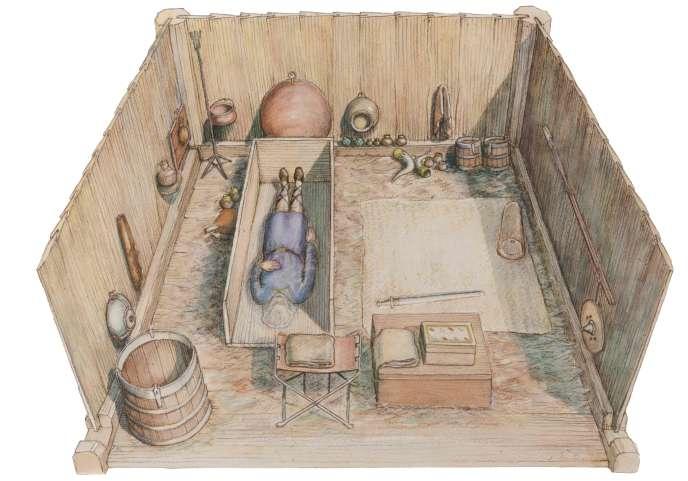 Représentation de la sépulture découverte àPrittlewell, au Royaume-Uni, en 2003.