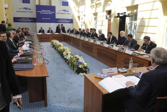 Tour de table des chefs d'Etat et de gouvernement lors du sommet de Sibiu en Roumanie, le 9 mai.