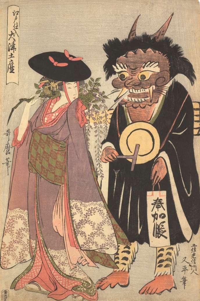 Kitagawa Utamaro (1753-1806), Souvenirs d'Ôtsu achetés à Edo, vers 1802-1803, gravure sur bois, collection particulière, Paris.