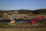 Lors de la construction du barrage de Caussade, en mai 2019.