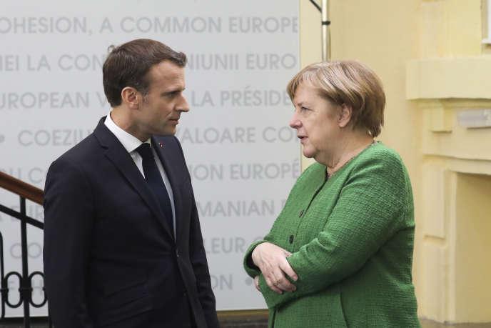Emmanuel Macron et Angela Merkel en Roumanie, le 9 mai.