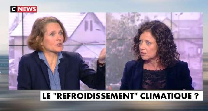 Capture d'écran de l'émission« L'Heure des pros», sur CNews, du lundi 6 mai, où ont débattu l'écologiste Claire Nouvian et l'éditorialiste Elisabeth Lévy.