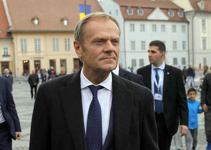 Le président du Conseil européen, Donald Tusk, à Sibiu, en Roumanie, le 8 mai.