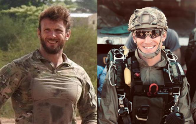 Les deux militaires français tués dans l'opération, Cédric de Pierrepont (à gauche) et Alain Bertoncello (à droite).