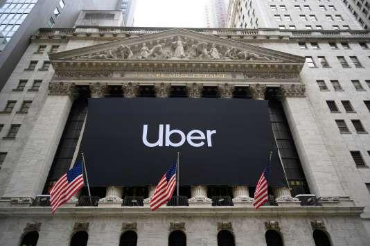 La bannière d'Uber sur la Bourse de Wall Street.