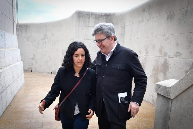 Manon Aubry et Jean-Luc Mélenchon, à Marseille, le 11 mai.