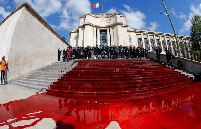 Des membres d'«Extinction Rebellion» sur les marches de l'esplanade duTrocadero, dimanche 12 mai.