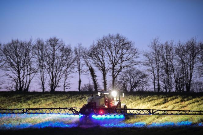 De l'herbicide glyphosatepulvérisé dans un champ de maïs à Saint-Léonard-des-Bois (Sarthe), le 21 mars 2019.