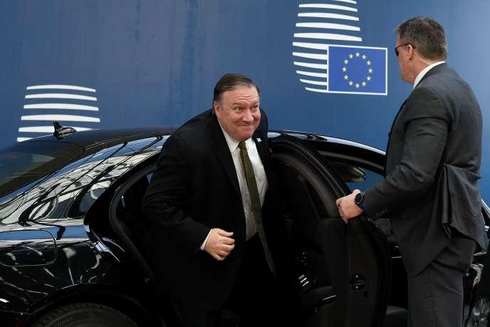 Le secrétaire d'Etat américain Mike Pompeo à son arrivée à Bruxelles, lundi 13 mai.