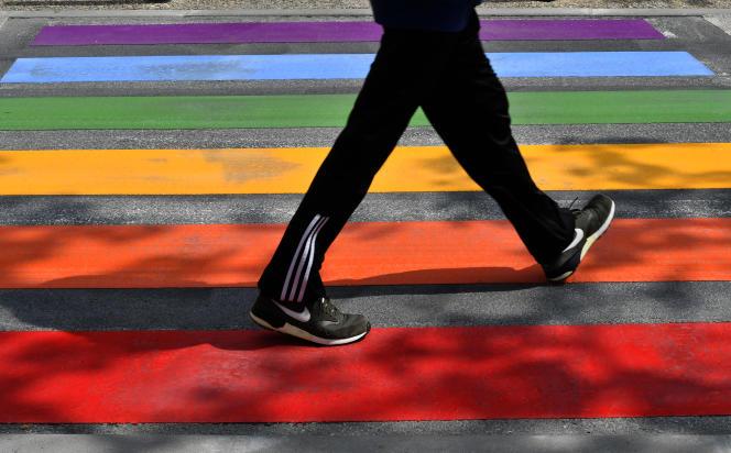 Un passage piéton aux couleurs du drapeau arc-en-ciel, à Périgueux (Dordogne), lors de la Journée internationale contre l'homophobie, le 17 mai 2018.
