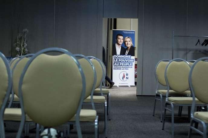 Avant un meeting du RN pour les élections européennes, à Strasbourg, le 15 avril.