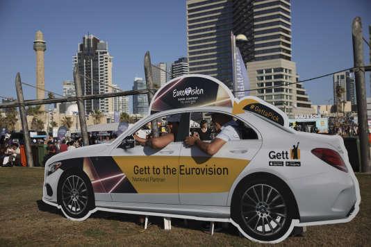 « Taxi» publicitaire pour l'Eurovision, à Tel-Aviv, le 13 mai 2019.