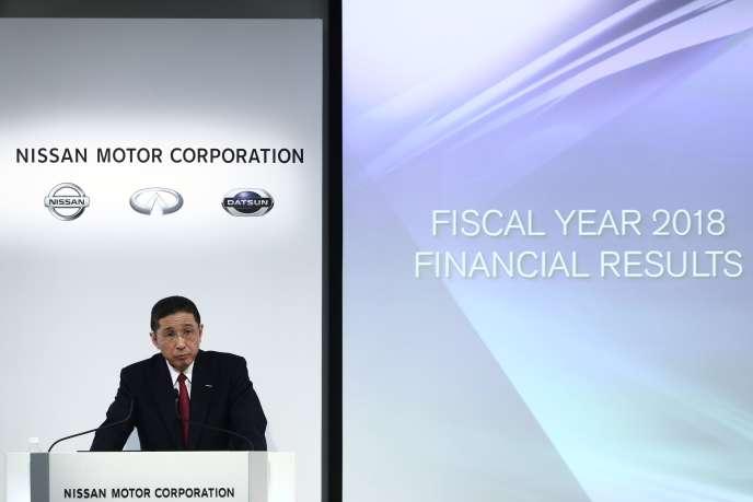 Hiroto Saikawa, le directeur général de Nissan, lors de la présentation des résultats financiers 2018-2019 du constructeur automobile japonais, à Yokohama, près deTokyo, le 14 mai.