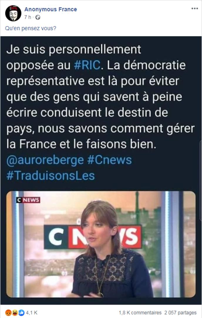 Ces propos, Aurore Bergé ne les a en réalité jamais tenus.