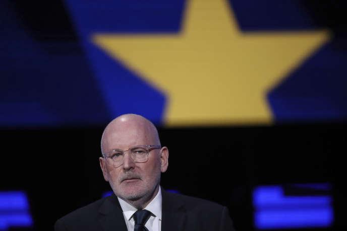 Le socialiste Frans Timmermans lors du débat entre les candidats à la présidence de la Commission européenne, à Bruxelles, le 15 mai.