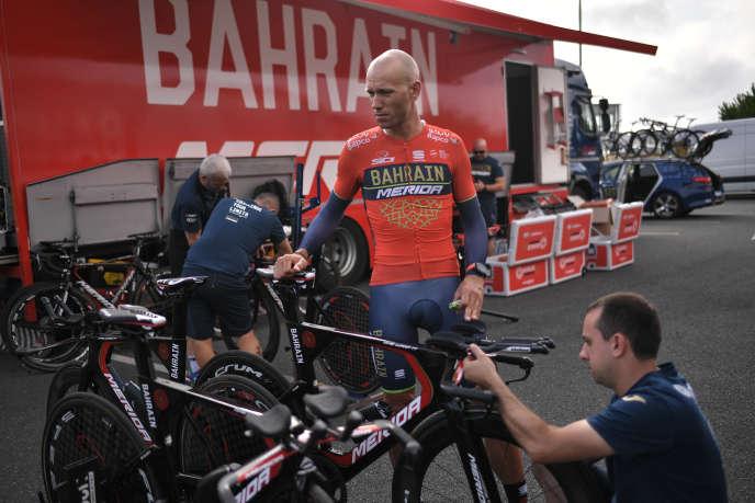 Le Slovène Kristjan Koren de l'équipe Bahrain-Merida, à Cholet, lors du Tour de France 2018.