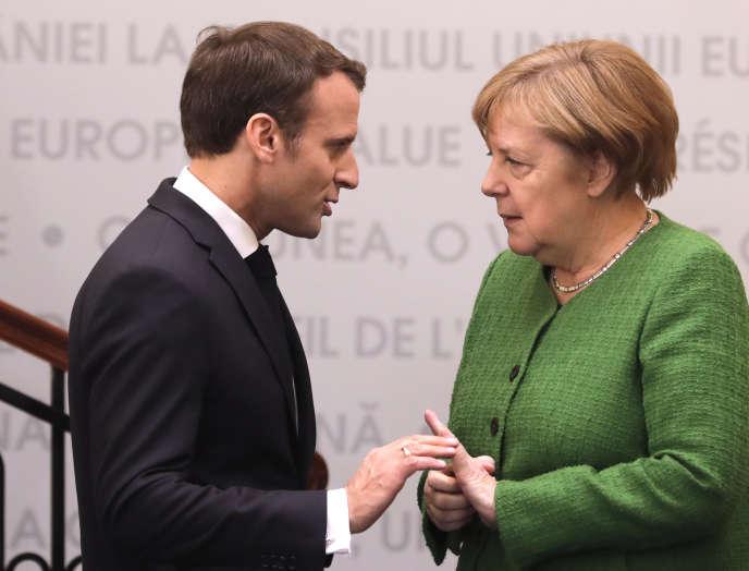 Angela Merkel et Emmanuel Macron, à Sibiu, en Roumanie, le 9 mai.