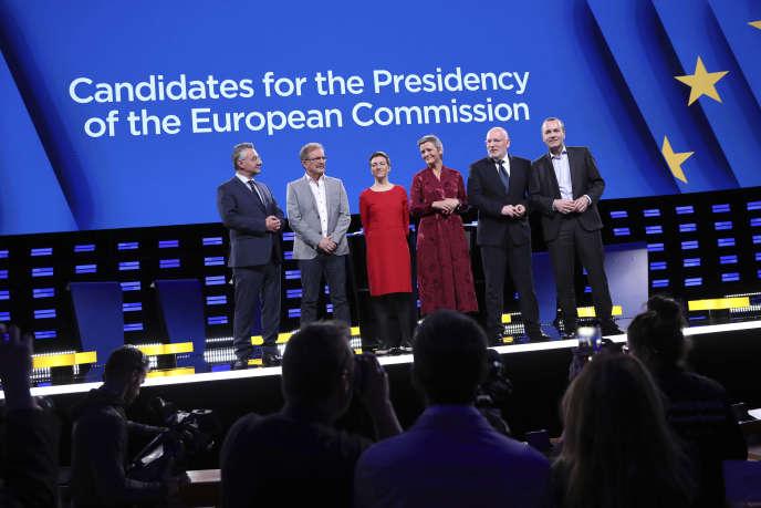 Jan Zahradil, Nico Cue, Ska Keller, Margrethe Vestager, Frans Timmermans et Manfred Weber (de gauche à droite) avant un débat à Bruxelles, le 15 mai.