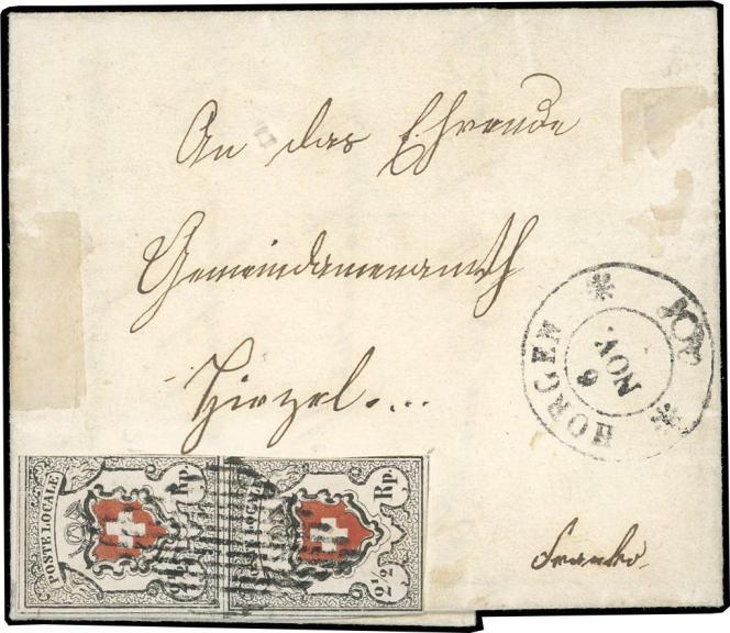 Poste locale suisse (1850-1854): 65000 euros minimum.
