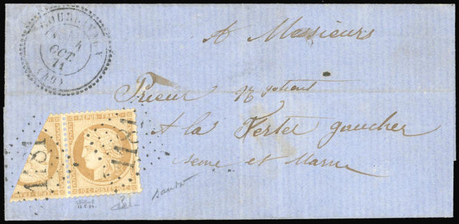 Un timbre coupé sur lettre, mise à prix 120000 euros.